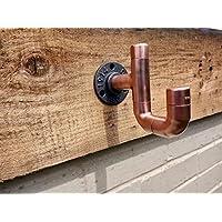 Copper Pipe Double Hook - Coat/Hat/Towel Hooks - Industrial/Vintage/Rustic - 22mm Thick - Handmade UK