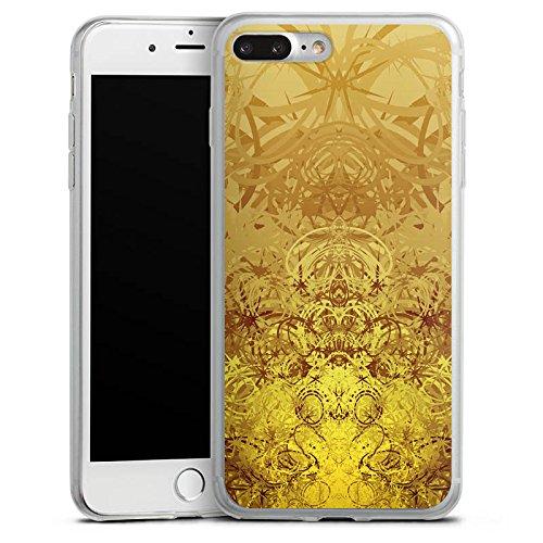 Apple iPhone 8 Plus Slim Case Silikon Hülle Schutzhülle Gold Muster Struktur Silikon Slim Case transparent
