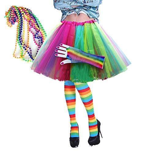 80er Jahre Neon Kostüm Kleid Zubehör Sets 1980s Damen Mädchen Night Out Fancy Party Dress Tutu Beinwärmer Halsketten Mehrfarbig