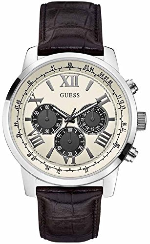 GUESS Men's Quartz Watch with Beige Dial Analogue Display and Black Leather Bracelet W0380G1