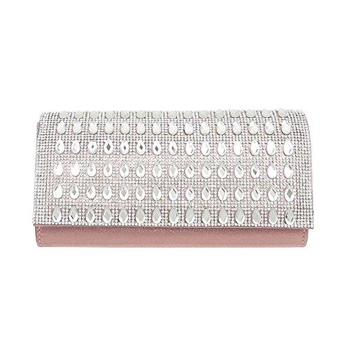 iTal-dEsiGn Damentasche Kleine Abendtasche Clutch Handtasche Synthetik TA-31002 Rosa