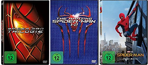 Spider-Man 1-3 + The Amazing Spider-Man Teil 1+2 + Spider-Man Homecoming [DVD Set] Alle 6 Teile Spider Man Komplett Fan Paket