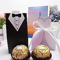 TOPmountain Favores de la boda Favores del banquete de boda Cajas Creative Tuxedo Dress Novio Caja de regalo del caramelo nupcial con la cinta 100pcs para el banquete de boda del regalo Decoración nup