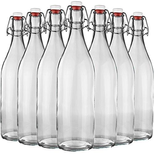20er Set Bormioli Glasflasche mit Bügelverschluss - Gesamthöhe : 32cm - Glas - Füllmenge 1000ml / 100cl - Ideal als Weinflasche,Milchflasche,Saftflasche,Schnapsflasche,ESS und Öl,Selbstbefüllen - Saft-set
