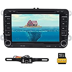 Double 2 Din 7 Inch Car Stereo Radio DVD Player GPS Navigation In Dash Bluetooth Touch Screen Head unit for VW Passat t5 Golf MK5 Jetta+ Reversing Camera