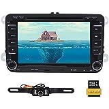 Doppel 2DIN 17,8cm Autoradio DVD Player GPS Navigation in Dash Bluetooth Touch Bildschirm Head Unit für VW Passat T5Golf Mk5Jetta + Rückfahrkamera