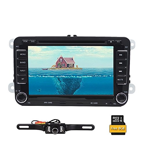 Autoradio 2Din, unità centrale con navigatore GPS e lettore DVD in dash, schermo tattile da 7', Bluetooth; per VW + camera ribaltabile