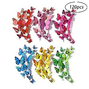 Schmetterlinge Deko, Robuste Kunststoff-Schmetterlingsdekoration für Wanddekoration, Kinderzimmer (120 Stück in 24 blau, 12 rot, 12 grün, 24 gelb, 24 pink, 24 rot) (Mehrfarbig)