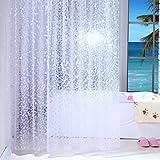 Hand-Duschvorhänge, Weiß, wasserdicht mit 100% mould-free transparent PEVA-Duschvorhang mit Haken, 120x180cm
