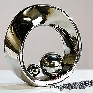 Casablanca - Skulptur Spin aus Keramik - silberfarben glasiert mit 2 silbernen Kugeln