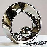 Casablanca 26179 Skulptur - Dekofigur - Spin- Keramik - mit 2 Kugeln - Höhe 21 cm