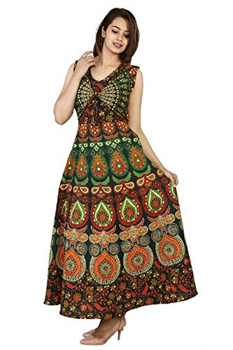 Narsinh Women's One Piece Jaipuri Print Cotton Long Dress with Sleeves Attached...