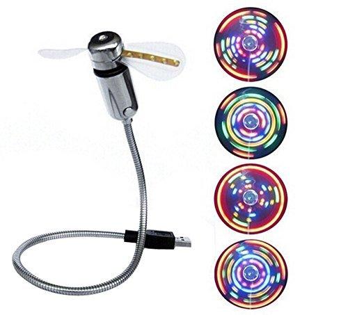 TAKSON mini ventilatore USB flessibile portatile USB LED colorato ventola di raffreddamento luce per desktop e laptop per casa e ufficio