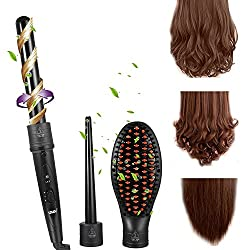 ACEVIVI Curling Wand Iron 3 in 1 Set Tourmaline Ceramic Iron Interchangeable Barrel and Hair Straightening Brush Hair Curling Iron Styling Iron Tong with Heat Resistant Glove UK Plug