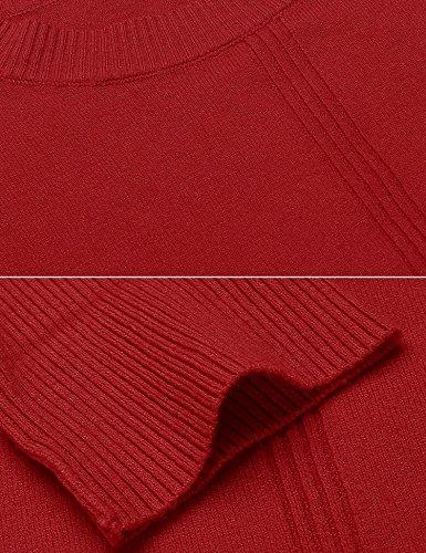 Meaneor Damen Strickpullover Rundhals Basic Langarm Pullover Lose Einfarbig Pulli mit Schlitz Rot