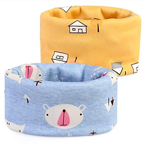 Goldge multiuso sciarpa per bambini, autunno e inverno caldo doppio ispessimento cute cappello del cotone sciarpa o-scaldacollo loop per bambino, 2 pack