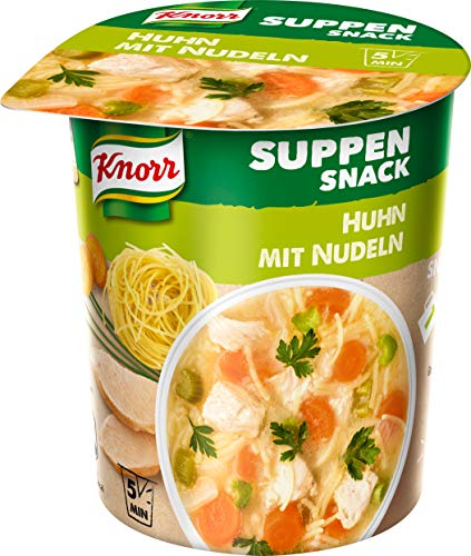 Knorr Suppen Snack Huhn mit Nudeln, 1 Portion, 8er Pack