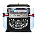 Ricatech RR700 Jukebox Lecteur CD avec Haut-parleurs stéréo intégrés, Mini-Juke-Box de Table avec Radio AM/FM, Prend en Charge Bluetooth, éclairage LED 5 Couleurs, Line-in, Lecture MP3, Couleur Noire...