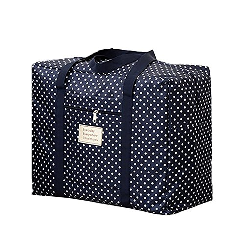 Getko Foldable Travel Bag Large Capacity Waterproof Foldable Big Carry On Luggage Bag Shopping Handbag Lightweight Shoulder Bag (Blue Polka Dot)