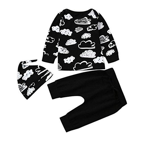 FRYS ensemble bebe garcon hiver vetement bébé garçon naissance printemps pas cher manteau garçon pyjama enfant fille manche longue blouse haut top t shirt + pantalons + bonnet (90(6-12 mois), Noir)