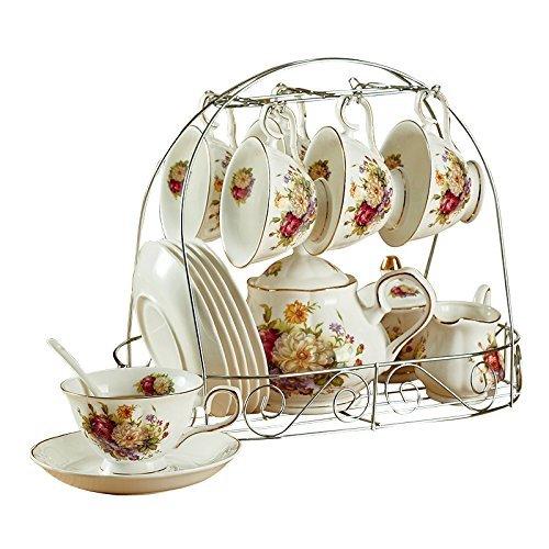 15 Stück Europäischen Keramik Service Kaffee Set Mit Metall Halter, Rote Und Weiße Rose Weinlese Tee Set, Für Hochzeit Und Haushalt