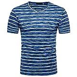 Rawdah T-Shirt à Manches Courtes Rayé Nouveau Mode Hommes d'Été Confort Sportswear Tees Loisirs Décontracté Summer Casual SOID V Neck Tops Blouse (M, Bleu)