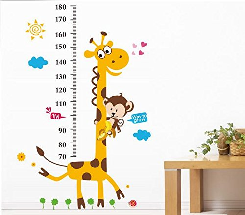 Jessie&Letty autoadesivo della parete smontabile della tabella di sviluppo della giraffa scimmia altezza della tabella di sviluppo parete decalcomania del vinile Decor Sticker per la scuola materna Sala giochi ragazze e ragazzi per bambini Camera (LM8004)