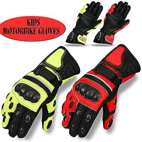 Gloves Master Gants de moto hiver en cuir de vache pour enfants, Enfant, Red, XS (8-11 Years)