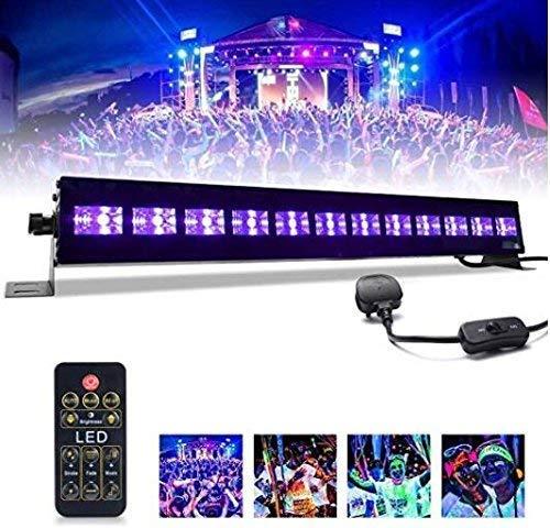 UV Licht Bar mictuning 36W 12LEDs Projektor UV-Fernbedienung Bühnenscheinwerfer, für Ausstellung von Körperbemalung, Teil der Urlaub, Hochzeit und Geburtstag
