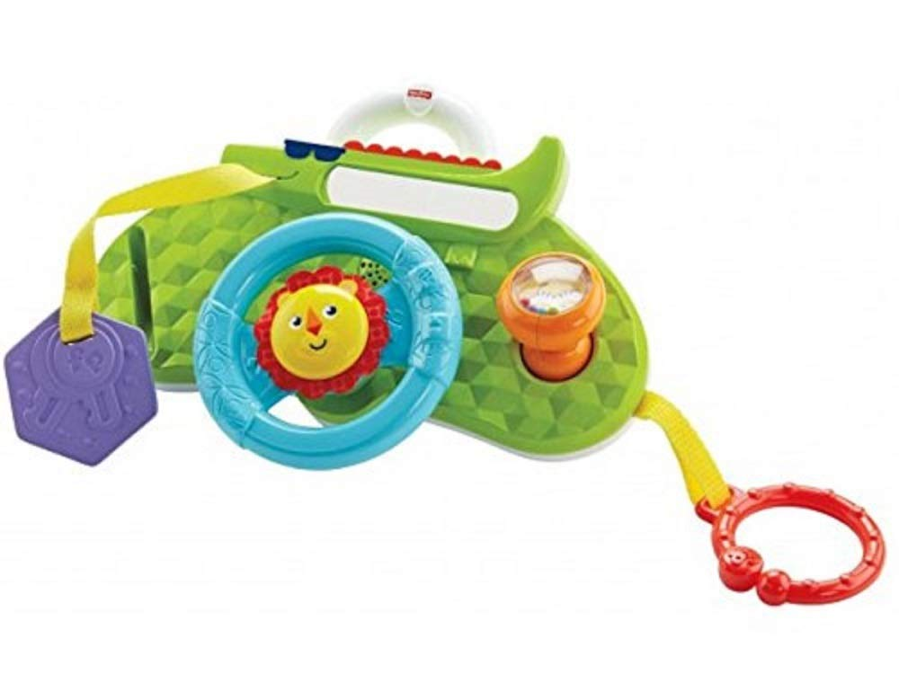 Fisher-Price Rolling and Strolling Dashboard, New-born Activity Toy with Music Sounds Fisher-Price  Attaches to stroller for playtime on the go  Turn the lion steering wheel to hear short songs  Push the lion's face for silly sound effects (Beep beep!) 1