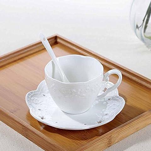 sbwylt-creative Continental cerámica con relieve hueca de cristal taza de café y platillo taza de cerámica y platillo de encaje