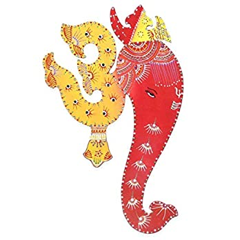 Om Ganesha Wall Hanging Indian Decor Painting – Yellow & Red base colours with Decorative Motifs