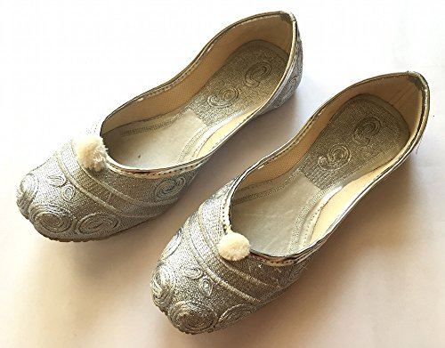 Silver Paisley Bridal Ballet Flats/Wedding Shoes/Handmade Indian Designer Women Shoes or Slippers