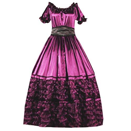 Partiss lace ruffles à manches courtes pour femme style gothique lolita fancy dress costume victorian Rose - Rose