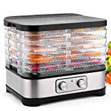Food Dehydrator with Temperature Controller, Fruit-Meat Dryer, 5 Tray Digital Dehydrator, BPA-Free 250W/Button