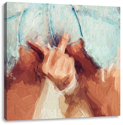 Pixxprint Freche Frau zeigt Mittelfinger in sexy Pose Kunst Pinsel Effekt, Format: 70x70 auf Leinwand