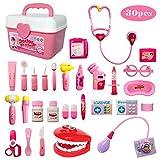 Buyger 30 Teile Arztkoffer Medizinisches Doktor Rollenspiel Spielzeug Geschenke Kinder(Rosa)