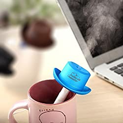 New USB Portable Humidifier Essential Aroma Diffuser MIst Maker Water Bottle Cap Ultrasonic Humidifier Air Purifier DC5V Blue