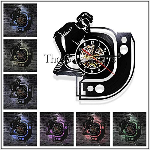 txyang 1 Stück DJ Plattenspieler Mixer LP Schallplatte Wanduhr Spinning Scratching Album Moderne Wanduhr Nachtclub Wanduhr Kunst @ Multi_12_Inch_ (Vinyl Album-kunst)
