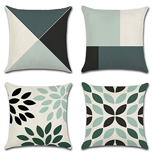 Jotom fodera per cuscino in cotone e lino astratta modello geometrico federa per divano casa soggiorno camera da letto decorazione per interni, 45x45cm, set di 4 pezzi(geometrico a)