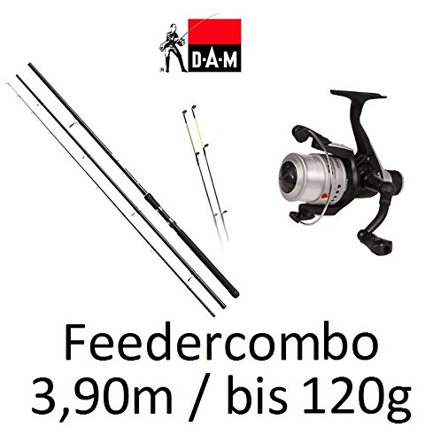 DAM Hypron Feedercombo 3,90m / bis 120g + Rolle + Schnur Set Angelset