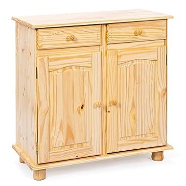 Inter Link Landhausstil Kommode mit 2 Schubladen 2 Türen Massivholz mocca Esszimmer Küche