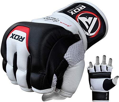 RDX MMA Handschuhe Profi Rindsleder Kampfsport Sparring Freefight Sandsack Trainingshandschuhe Grappling Gloves (MEHRWEG)