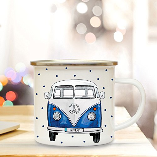 ilka parey wandtattoo-welt Emaille Becher Camping Tasse mit Bus Bulli Autobus Surfbus Blau Punkte & Name Wunschname Kaffeetasse Geschenk eb161