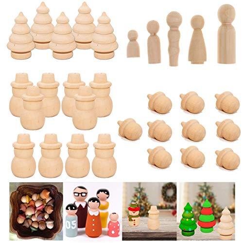 mengger Figurenkegel Holz Familie Figuren Holzfiguren Spielfiguren Zum Bemalen Basteln Puppen Spielfigur Mann Frau Junge Mädchen Kinder 30 Stück Schneemann Weihnachtsbaum Holzkegel (B)