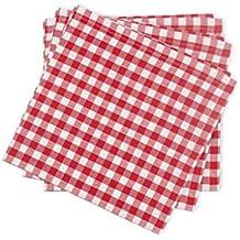 Soleil docre Lote de 3 servilletas de algodón Vichy Rojo