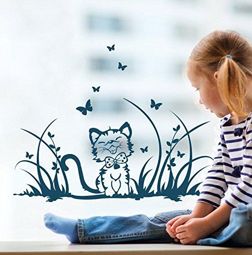 ilka parey wandtattoo-welt Fensterbilder Kinder Frühling Kinderzimmer Katze Kätzchen Wiese Schmetterlinge M1369f - Welt Frühling
