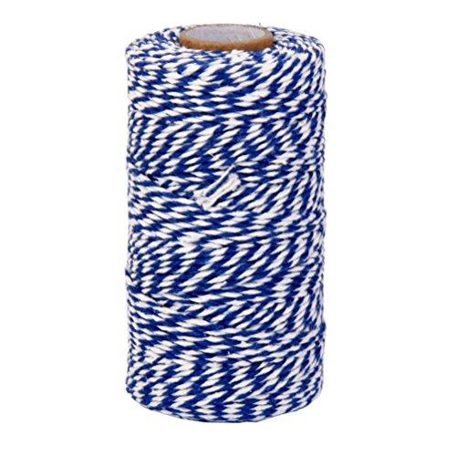 rosenice Draht von Baumwolle Schnur Pfannen Bakers Twine 100M (weiß blau navy) -