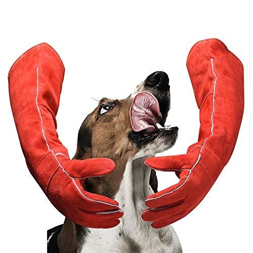 HDTLJXX Gants Anti-Morsures pour Animaux De Compagnie Épaissir Peau De Vache Animal De Compagnie Résistant À lusure Confortable Sécurité Jaune Jardin