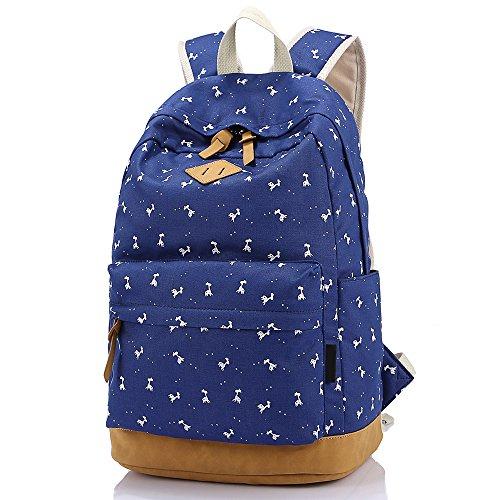 SymbolLife Mädchen Rucksack damen Teenager Schulrucksack Casual Daypack Reisetasche Sports Wandern Rucksack für Universität Outdoor Freizeit Rucksäcke mit Mäppchen 11,4*16,9*6,7in, Dunk Blau (Dunk Mädchen)